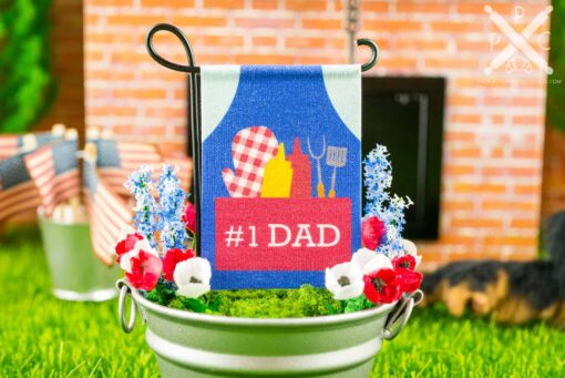 Dollhouse Miniature #1 Dad Grilling Apron Father's Day Garden Flag - 1:12 Dollhouse Miniature Garden Flag