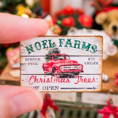 Dollhouse Miniature Noel Farms Christmas Trees Sign - 1:12 Dollhouse Miniature Christmas Sign