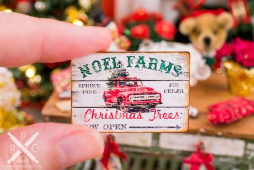 Dollhouse Miniature Noel Farms Christmas Trees Sign - 1:12 Dollhouse Miniature Christmas Sign