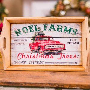 Noel Farms Christmas Trees Wood Tray