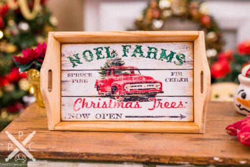 Dollhouse Miniature Noel Farms Christmas Trees Wood Tray - 1:12 Dollhouse Miniature Christmas Decoration - Christmas Miniatures