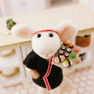 Nori the Needle Felted Mouse Sushi Chef