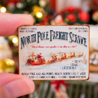 Dollhouse Miniature North Pole Freight Service Sign - 1:12 Dollhouse Miniature Christmas Sign
