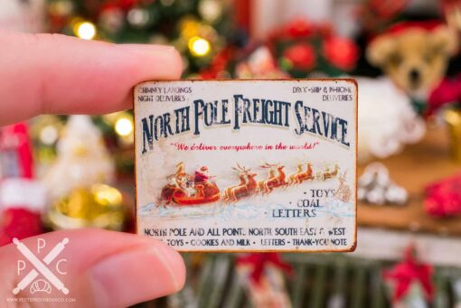 Dollhouse Miniature North Pole Freight Service Sign - 1:12 Dollhouse Miniature Christmas Sign