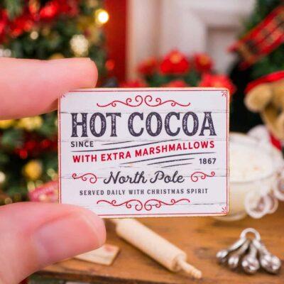 Dollhouse Miniature North Pole Hot Cocoa Sign - 1:12 Dollhouse Miniature Christmas Sign