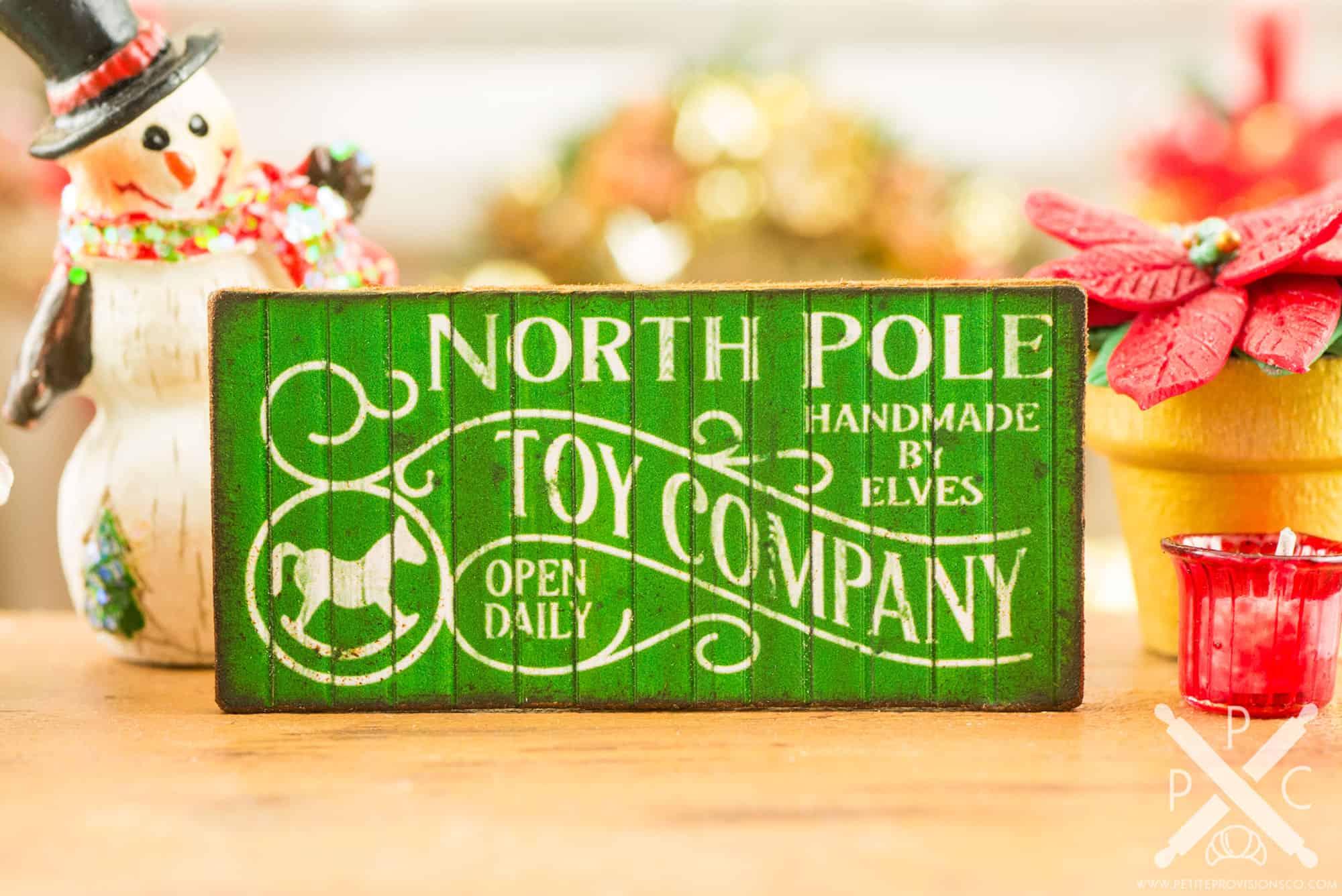 Miniature North Pole Toy Company Sign - 1:12 Dollhouse Miniature ...