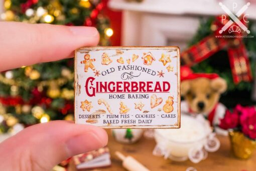 Dollhouse Miniature Old Fashioned Gingerbread Sign - 1:12 Dollhouse Miniature Christmas Sign