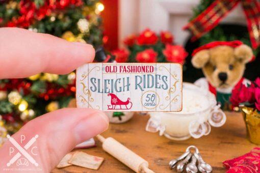 Dollhouse Miniature Old Fashioned Sleigh Rides Sign - 1:12 Dollhouse Miniature Christmas Sign