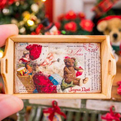 Dollhouse Miniature Old World Santa Christmas Wood Tray - 1:12 Dollhouse Miniature Christmas Decor - Christmas Miniatures