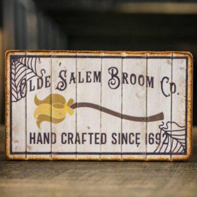 Dollhouse Miniature Olde Salem Broom Co. Sign - Decorative Halloween Sign - 1:12 Dollhouse Miniature Halloween Sign