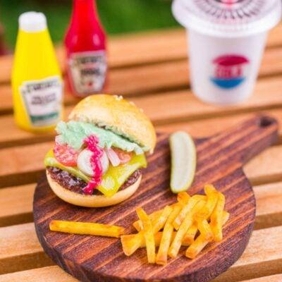 Dollhouse Miniature Open Cheeseburger, Fries and Pickle on Board - 1:12 Dollhouse Miniature Burger Set