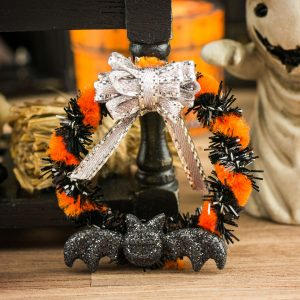 Orange and Black Batty Halloween Wreath
