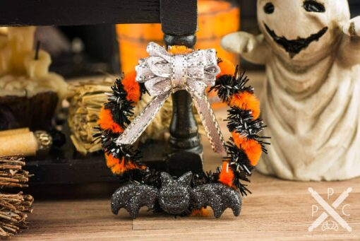Dollhouse Miniature Orange and Black Batty Halloween Wreath