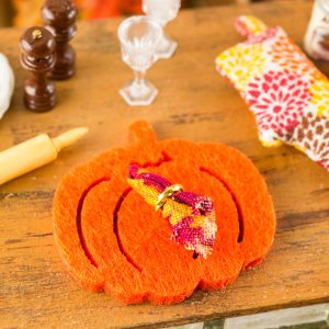 Orange Pumpkin Placemat and Cloth Napkin – Set of 4