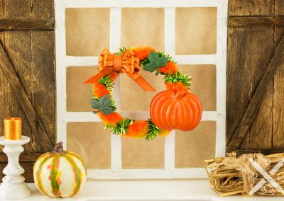 Orange Pumpkin Autumn Wreath