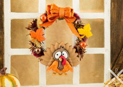 Orange Thanksgiving Turkey Wreath