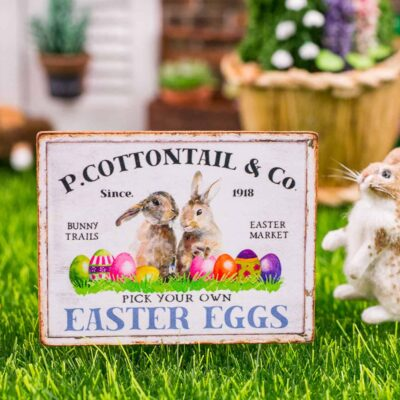 Dollhouse Miniature P. Cottontail & Co. Easter Eggs Sign - Decorative Easter Sign - 1:12 Dollhouse Miniature Spring Sign