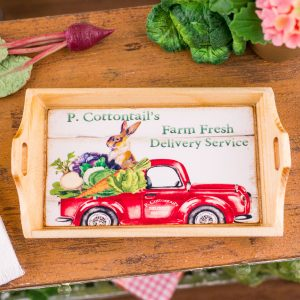 P. Cottontail's Farm Fresh Delivery Service Wood Tray