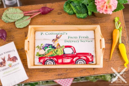 Dollhouse Miniature P. Cottontail's Farm Fresh Delivery Service Wood Tray - 1:12 Dollhouse Miniature Easter Decoration - Easter Miniatures