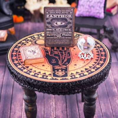 Dollhouse Miniature Palm Reader's Table Halloween Set - 1:12 Dollhouse Miniature Halloween Decorations