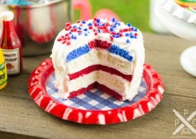 4th of July Patriotic Flag Cake on Tray