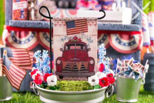 Dollhouse Miniature Patriotic Truck 4th of July Garden Flag - 1:12 Dollhouse Miniature Garden Flag