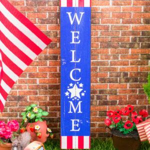 Farmhouse Patriotic Welcome Porch Sign