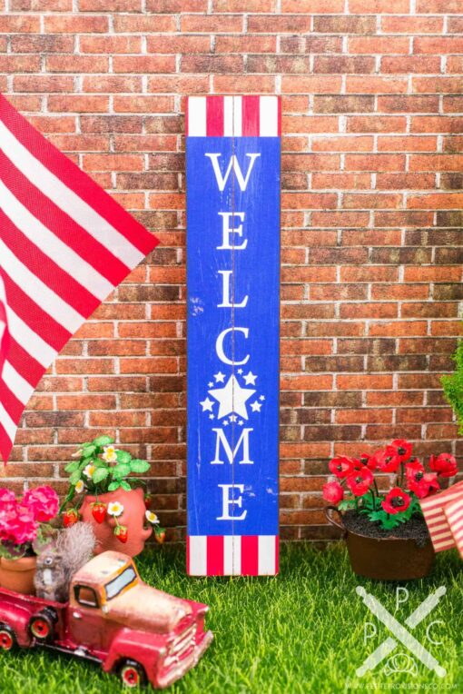 Dollhouse Miniature Farmhouse Patriotic Welcome Porch Sign - 4th of July Vertical Sign - 1:12 Dollhouse Miniature Porch Sign