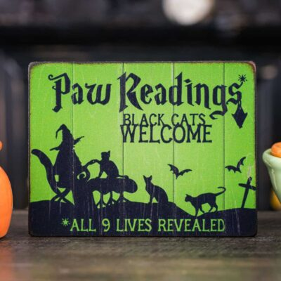 Dollhouse Miniature Paw Readings Sign - Decorative Halloween Sign - 1:12 Dollhouse Miniature Halloween Sign