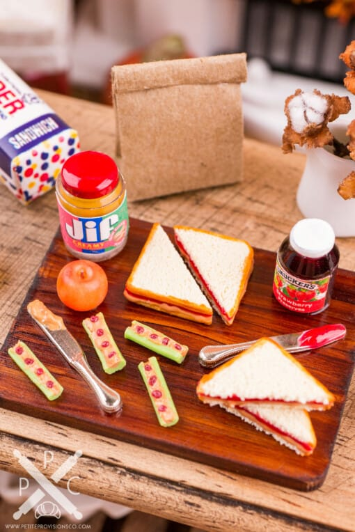 Dollhouse Miniature Peanut Butter & Jelly Lunch Prep Board - 1:12 Dollhouse Miniature School Lunch