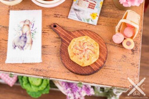 Dollhouse Miniature Rustic Peach Tart on Board - Peach Galette on Cutting Board - 1:12 Dollhouse Miniature Dessert