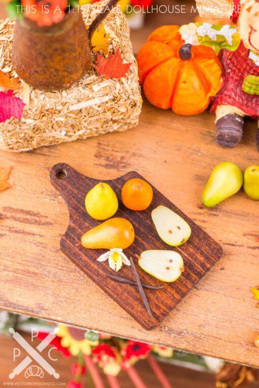Dollhouse Miniature Autumn Pears and Vanilla Cutting Board - 1:12 Dollhouse Miniature Pears