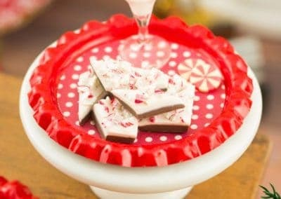 Peppermint Bark and White Chocolate Candy Cane Martini on Tray