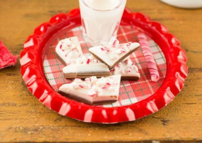 Peppermint Bark and Glass of Milk on Tray