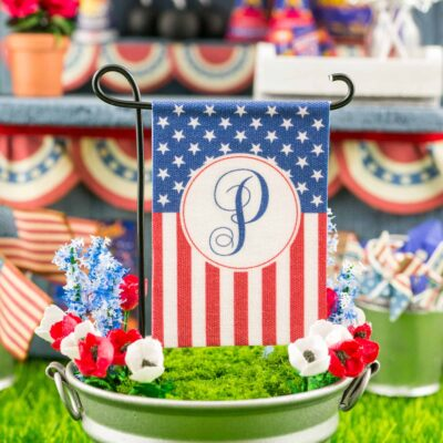 Dollhouse Miniature Personalized American Flag 4th of July Garden Flag - 1:12 Dollhouse Miniature Garden Flag