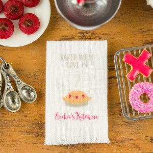 Personalized Baked with Love Kitchen Tea Towel