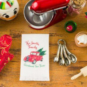 Personalized Christmas Tree Farm Tea Towel