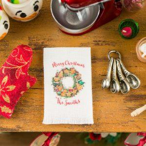 Personalized Christmas Wreath Tea Towel