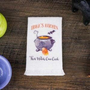 Personalized Halloween Witch's Cauldron Kitchen Tea Towel