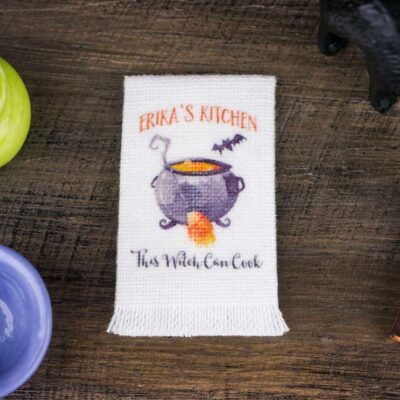 Dollhouse Miniature Personalized Halloween Witch's Cauldron Kitchen Tea Towel - 1:12 Dollhouse Miniature Halloween Towel