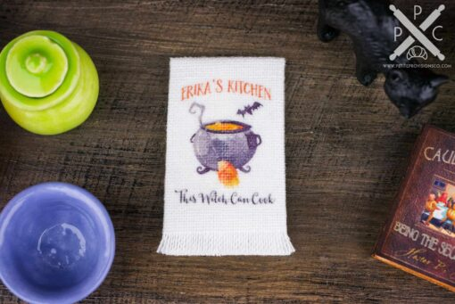 Dollhouse Miniature Personalized Halloween Witch's Cauldron Kitchen Tea Towel - 1:12 Dollhouse Miniature Halloween Towel