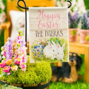 Personalized Happy Easter Rabbits Garden Flag
