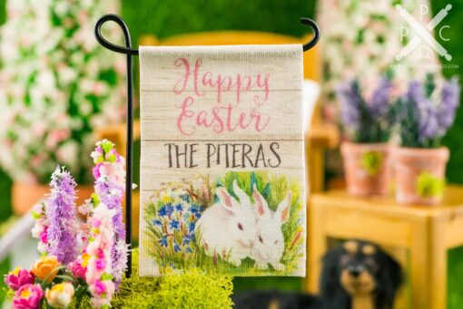Dollhouse Miniature Personalized Happy Easter Rabbits Garden Flag