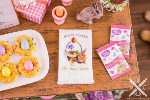 Dollhouse Miniature Personalized Happy Easter Tea Towel - Easter Kitchen Towel - 1:12 Dollhouse Miniature Easter Towel
