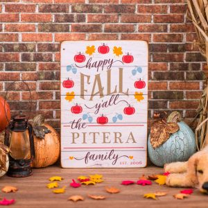 Personalized Happy Fall Y'all Porch Sign