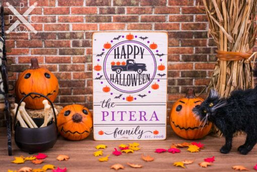 Dollhouse Miniature Personalized Happy Halloween Porch Sign