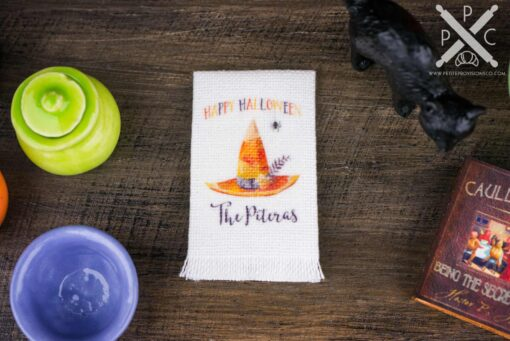 Dollhouse Miniature Personalized Happy Halloween Tea Towel - 1:12 Dollhouse Miniature Halloween Towel