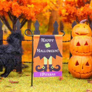 Personalized Happy Halloween Witch Garden Flag