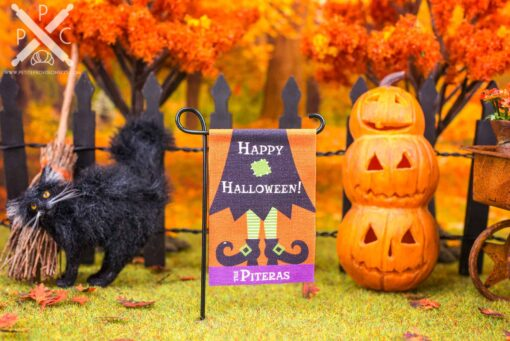 Dollhouse Miniature Personalized Happy Halloween Witch Garden Flag - 1:12 Dollhouse Miniature Garden Flag