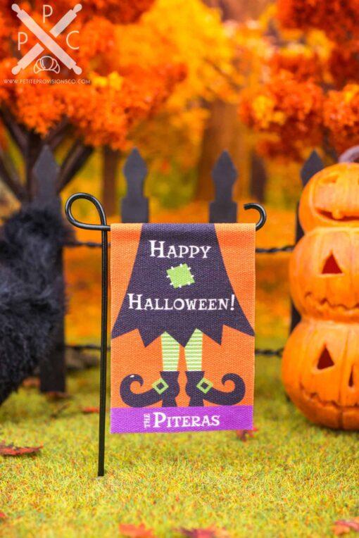 Dollhouse Miniature Personalized Happy Halloween Witch Garden Flag - 1:12 Dollhouse Miniature Garden Flag